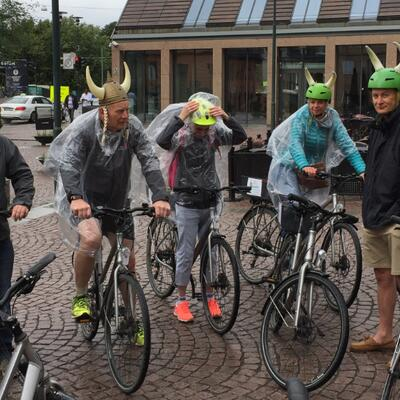 Cycling tour Oslo – helmet safety viking style